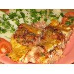 Форель в брусничном маринаде под сырным суфле