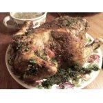 Курица, фаршированная гречневыми хлопьями с грибами