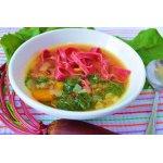 Суп с домашней пастой на свекольном соке