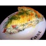 Сырно-сливочный киш-суфле с помидорами и беконом
