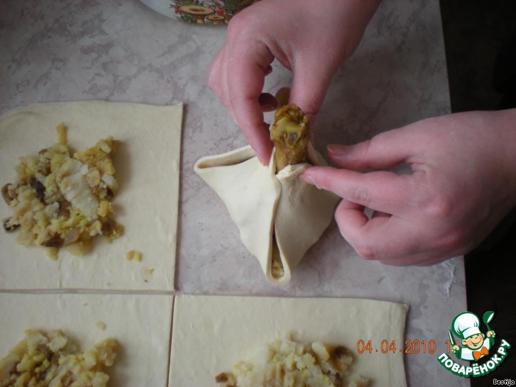 Куриные ножки с картошкой в слоеном тесте в духовке рецепт пошагово