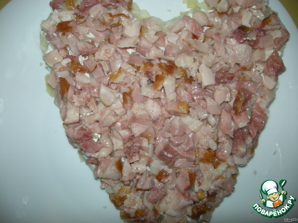 салат валентинка рецепт с курицей
