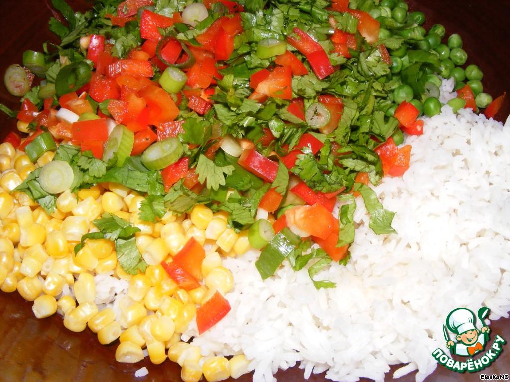 кулинарные рецепты салат рис зеленый горошек