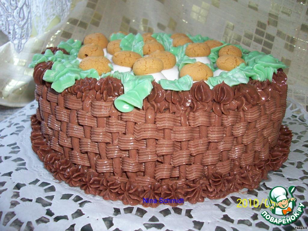Украшение торта кремом корзинка