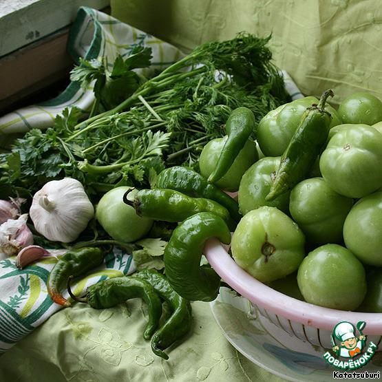 Как сделать суточные зеленые помидоры