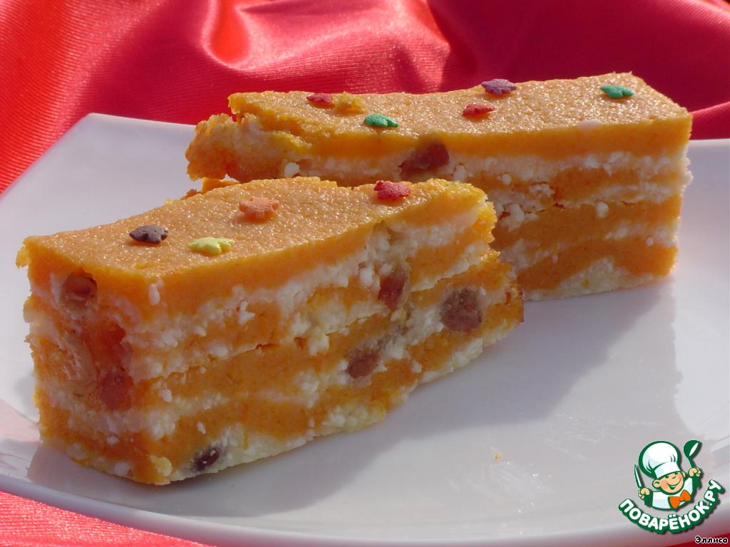 Тыквенный пирог с творогом рецепт с фото