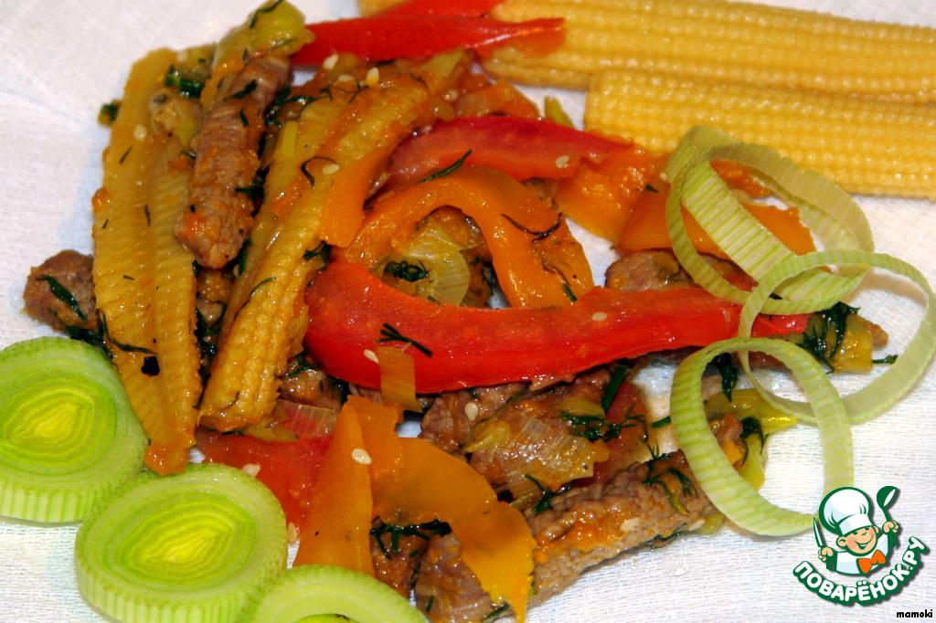 Салат горячий с говядиной и овощами рецепт с