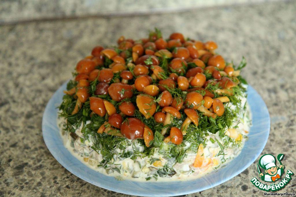Рецепты салатов-грибная полянка - фото