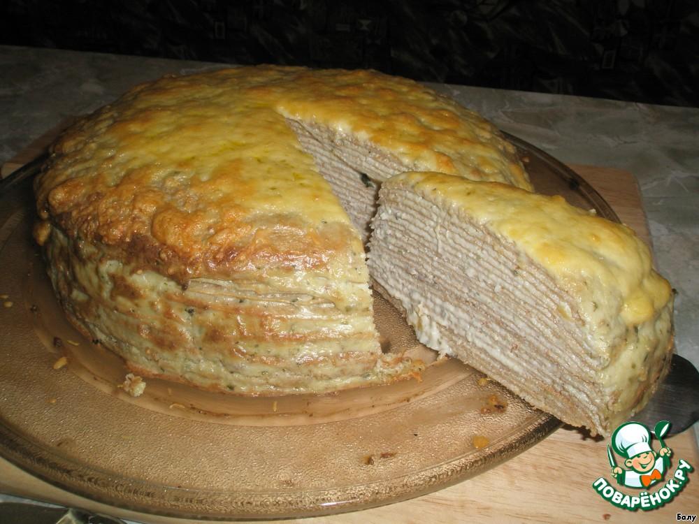 блинный пирог с курицей рецепт и грибами