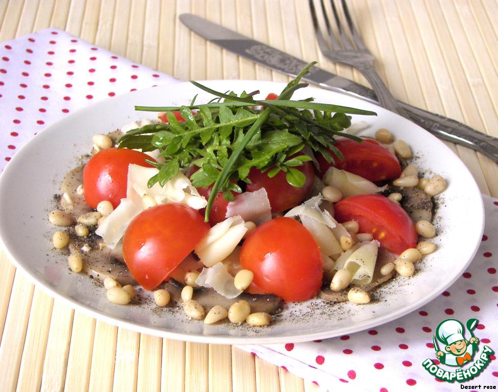 Салат из грибов курицы и кедровых орешек