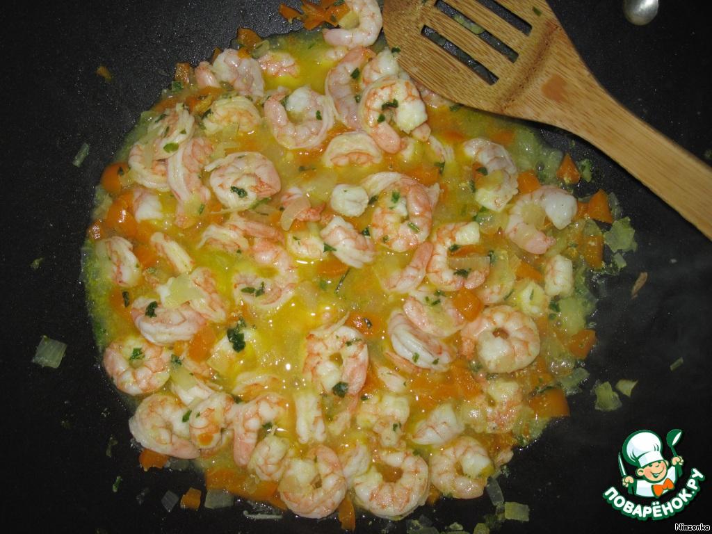 Рецепт макароны с креветками с пошагово в