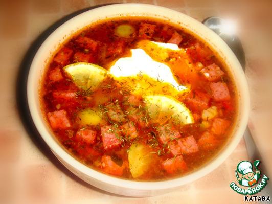 рецепт солянки с оливками и колбасой и рисом