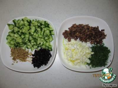 огурец яйцо и колбаса салат рецепт