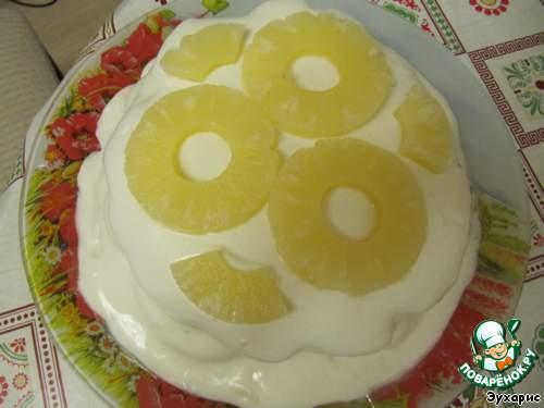 Торт с ананасами пошаговый рецепт с сметанный
