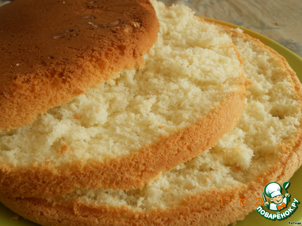 Пышный бисквит с рецептом