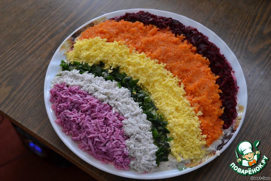 Салат радуга со свеклой рецепт с пошагово