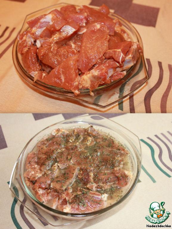 Свинина с подливкой на сковороде без томатной пасты