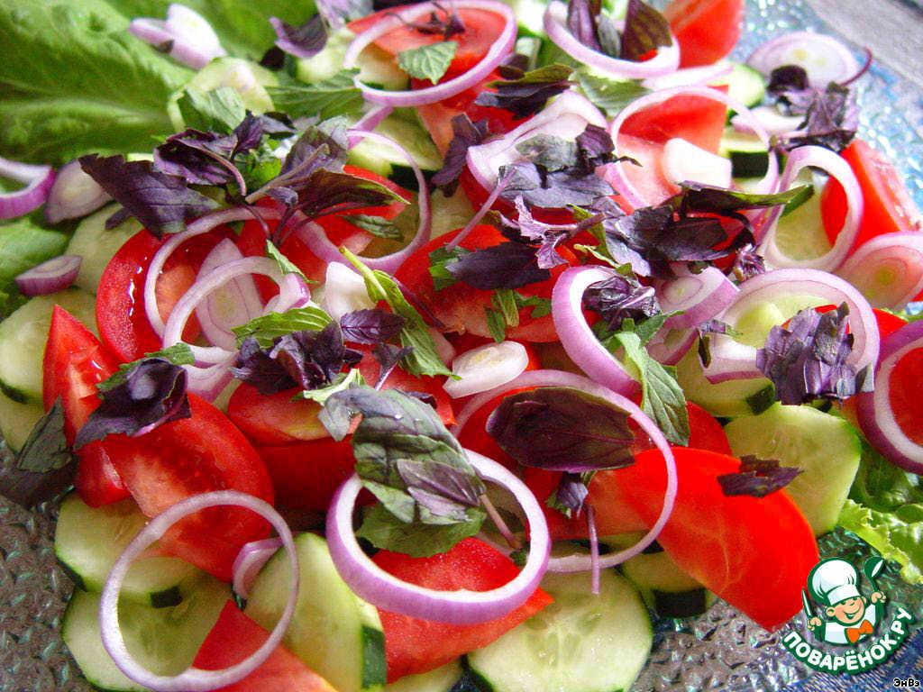 грузинский салат с колбасой и помидорами рецепт с фото