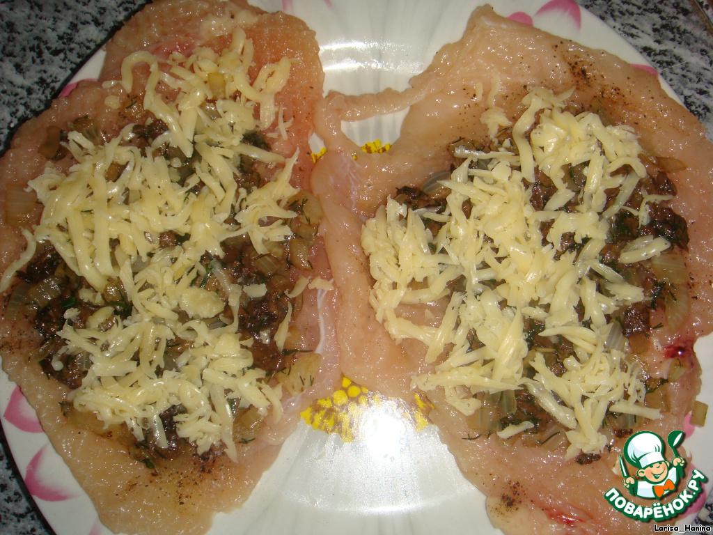 куриный рулет с грибами в духовке рецепт с фото