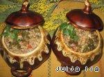 Ароматная гречка с сердечками и грибами в горшочках Соль