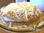 Закусочный торт из картофеля с сосисками, сыром и помидорами Мука пшеничная