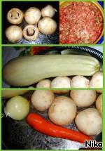 Кабачок с фаршем и шампиньонами запечeнный в фольге ингредиенты