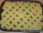 Мясная запеканка с зеленым горошком Лук репчатый