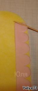 Красивое украшение для тортика в виде пушистых, воздушных рюш Желатин
