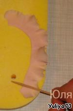 Красивое украшение для тортика в виде пушистых, воздушных рюш Крахмал