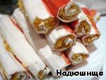 Фаршированные крабовые палочки в кляре Чеснок