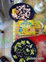 Цветочки-листочки из маршмеллоу Краситель пищевой