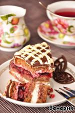 Шоколадный торт со сливочным кремом и вишней ингредиенты
