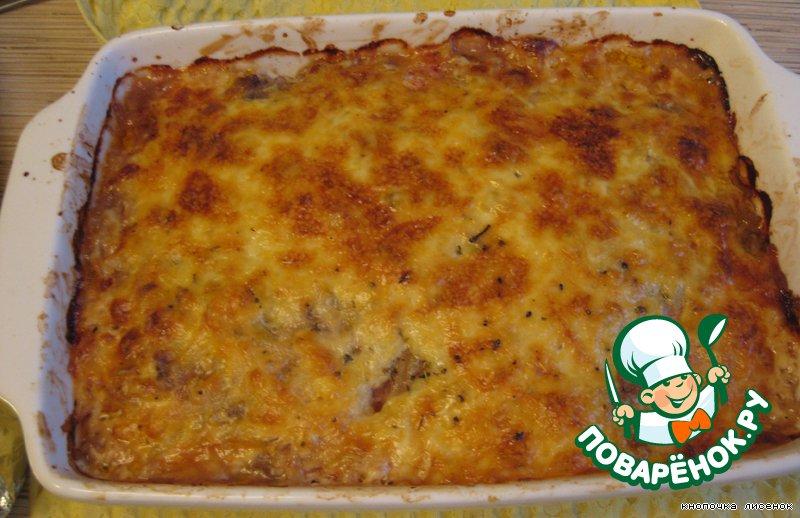 Блюдо из баклажанов с фаршем и картофелем
