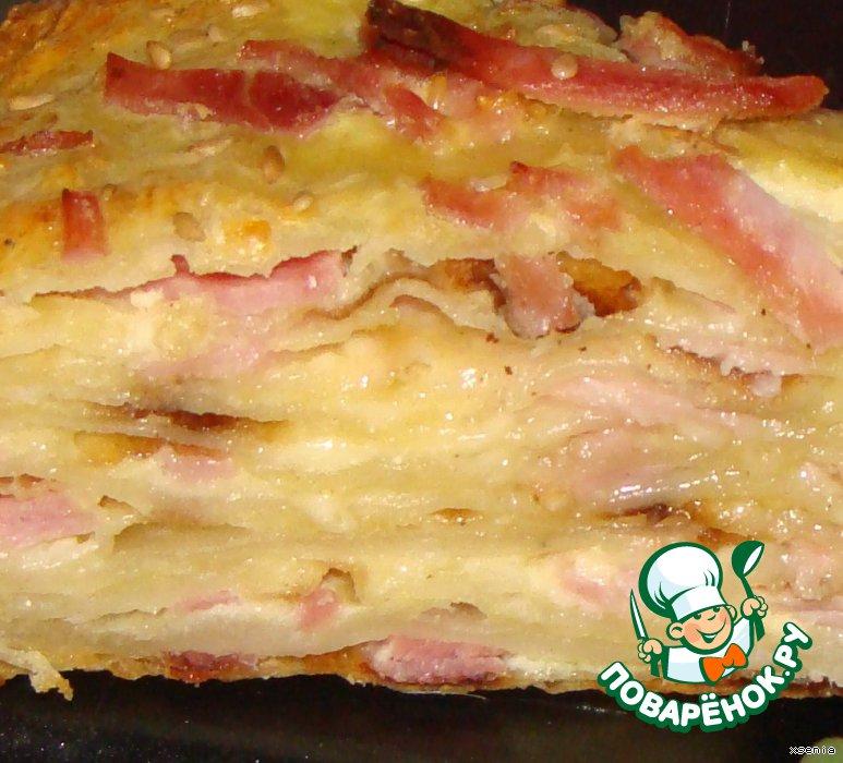 Фото рецепт пирога из кефира с колбасой