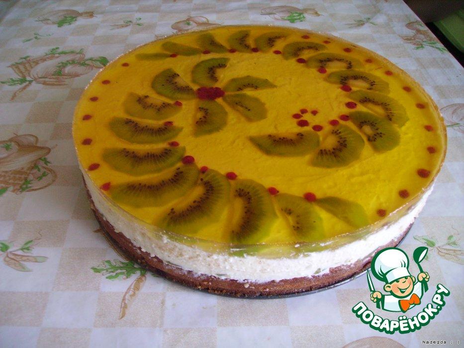 Рецепт фруктового желе с бисквитом