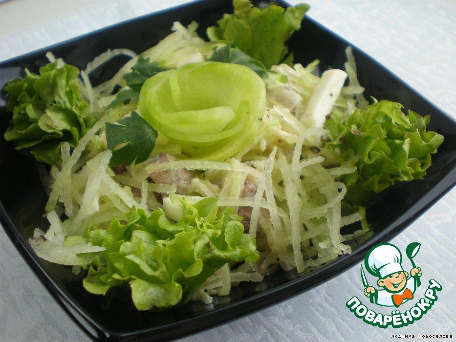 Салат из редьки с мясом и жареным луком рецепт с