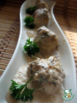 Мясные тефтели в сливочно-сырно-грибном соусе простой пошаговый рецепт с фото #1
