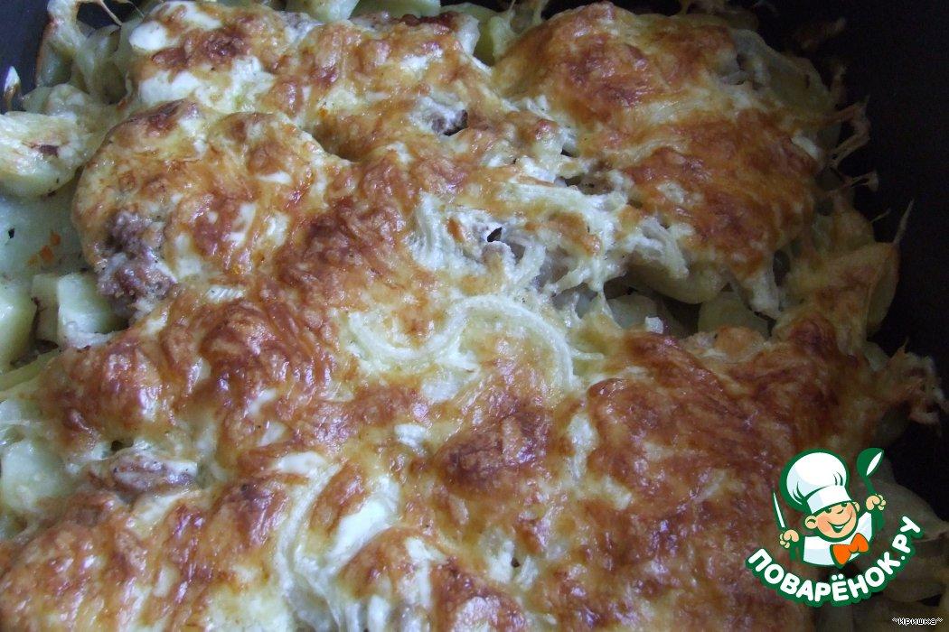 картошка с фаршем в духовке с сыром и майонезом