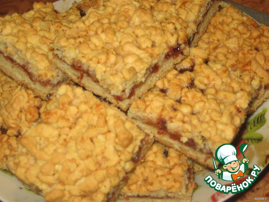 рецепт тёртого пирога на майонезк с вареньем