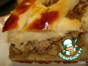 Пирог с мясом на дрожжевом тесте простой рецепт приготовления с фото готовим #17