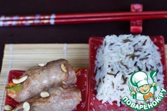 Рецепт: Свиные рулетики в японском стиле