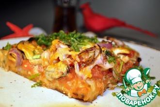 Рецепт: Пицца с морским коктейлем