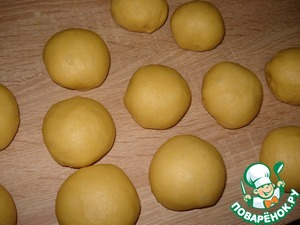 The finished dough divide into 12 balls.