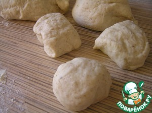 Then knead the dough, adding flour (how much) to not stick to hands. Leave for 30-40 minutes to rest. Then split into 7-12 parts.