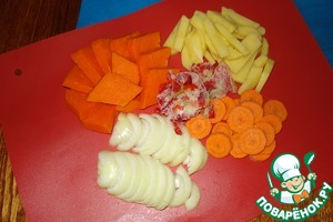 Vegetables cut into arbitrarily, as you want.