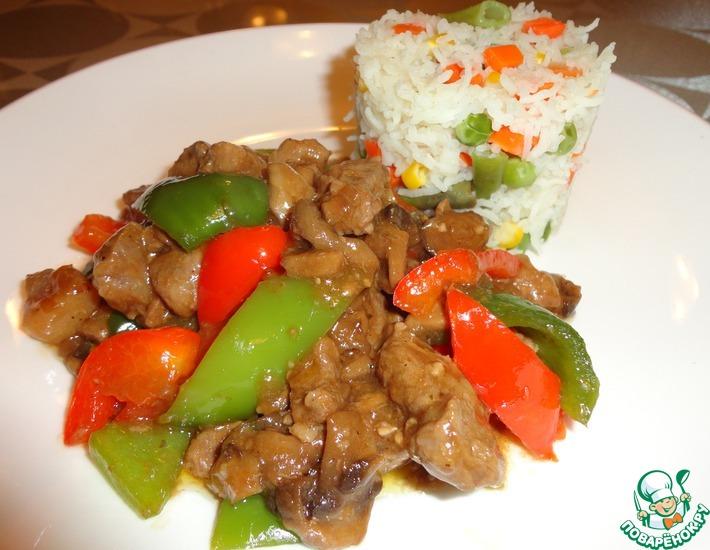 Рецепт: Свинина с грибами и соевым соусом
