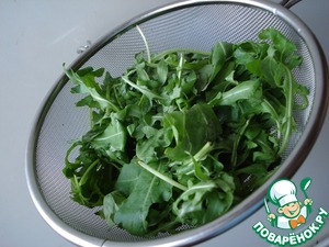 Wash the arugula and dry – I wrapped in a cotton towel for a few minutes.