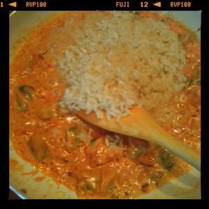 Когда рис и овощи буду готовы, в сковороду выложить рис и томатную пасту. Хорошо перемешать, налить немного кипячёной воды и тушить 5 минут под крышкой. Затем снять крышку и выпарить жидкость до состояния однородной рисово-овощной массы.