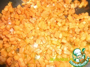 Peel the potatoes and cut into cubes. Add to the pot. Scrape the carrots and cut into small cubes of approximately 0.5 by 0.5 cm Fry in Rast. oil until Golden brown.