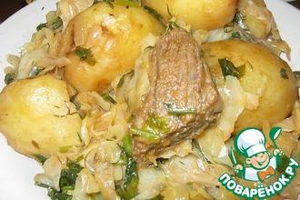 Рецепт: Казан-кабоб с капустой